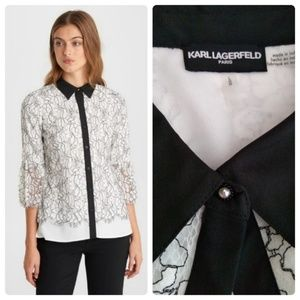 Karl Lagerfeld Paris White Lace Buttoned Blouse